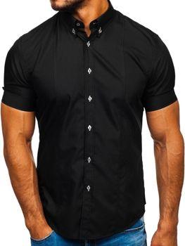 Čierna pánska košeľa s krátkymi rukávmi Bolf 5528