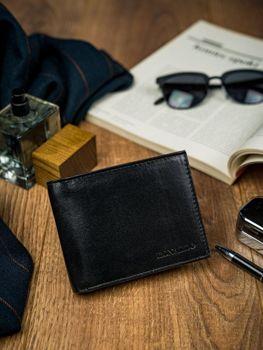 Čierna pánska kožená peňaženka 4589