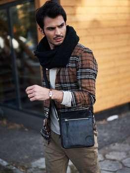 Čierna pánska kožená taška 3877