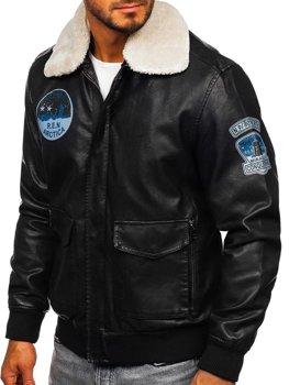 Čierna pánska koženková pilotná bunda Bolf 4794