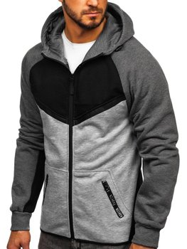 Čierna pánska mikina na zips s kapucňou Bolf 80688