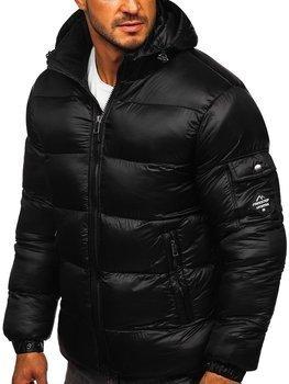 Čierna pánska prešívaná zimná bunda Bolf AB64