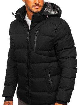 Čierna pánska prešívaná zimná bunda Bolf J1906