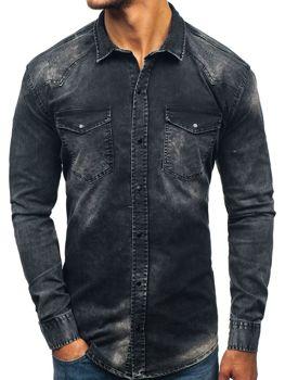 Čierna pánska riflová košeľa s dlhými rukávmi BOLF 2063