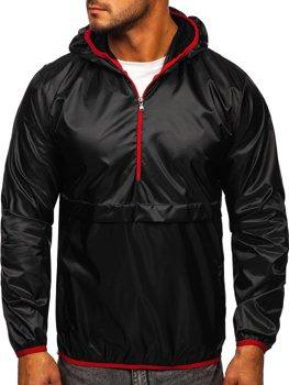 Čierna pánska športová prechodná bunda s kapucňou Bolf 5061
