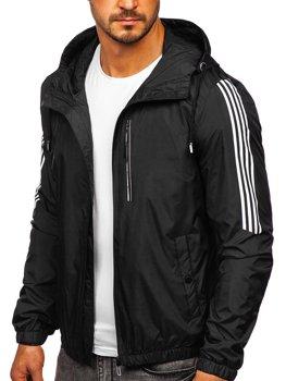Čierna pánska športová prechodná bunda s kapucňou Bolf 6172