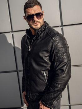 Čierna pánska zateplená motorkárska koženková bunda Bolf 92535