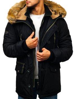 Čierna pánska zimná bunda parka BOLF 1045