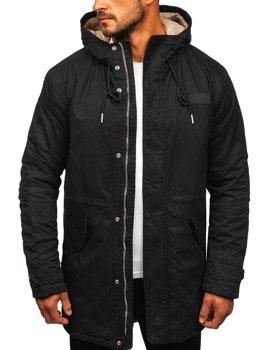 Čierna pánska zimná bunda parka Bolf EX838