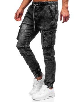 Čierne pánske riflové jogger kapsáče Bolf TF055