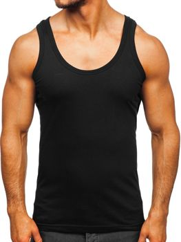 Čierne pánske spodné tričko bez potlače Bolf 0001