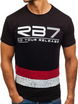 Čierne pánske tričko s potlačou BOLF 0008