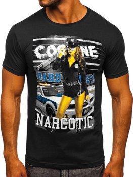 Čierne pánske tričko s potlačou BOLF 004
