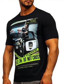Čierne pánske tričko s potlačou BOLF 6298
