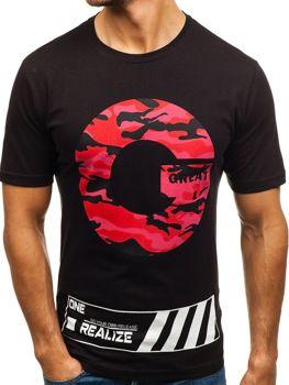 Čierne pánske tričko s potlačou BOLF 6299