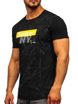 Čierne pánske tričko s potlačou Bolf SS11100