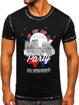 Čierne pánske tričko s potlačou Bolf s028