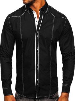 Čierno-biela pánska elegantná košeľa s dlhými rukávmi BOLF 4777