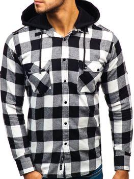 572a0eaff884 Čierno-biela pánska flanelová košeľa s dlhými rukávmi BOLF 1031