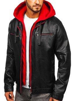 Čierno-červená pánska koženková bunda s kapucňou Bolf 6129