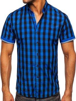 Čierno-modrá pánska károvaná košeľa s krátkymi rukávmi Bolf 4508