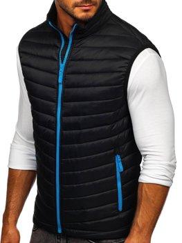 Čierno-modrá pánska prešívaná vesta bez kapucne Bolf AB041