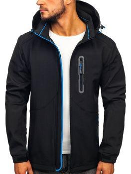 Čierno-modrá pánska softshellová bunda Bolf 12263