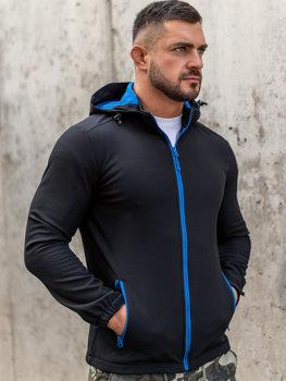 Čierno-modrá pánska softshellová prechodná bunda Bolf HH017