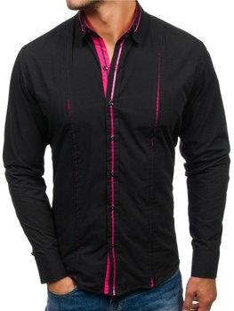 Čierno-ružové pánska elegantá košeľa s dlhými rukávmi BOLF 2964