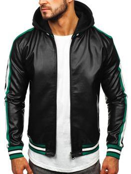 Čierno-zelená pánska koženková bunda s kapucňou Bolf HY615