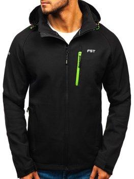 Čierno-zelená pánska softshellová bunda Bolf 107A