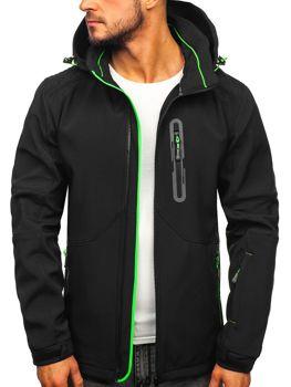 Čierno-zelená pánska softshellová bunda Bolf 12263