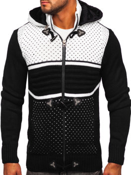 Čierny hrubý pánsky sveter/bunda so zapínaním na zips s kapucňou Bolf 2047