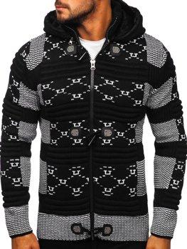 Čierny hrubý pánsky sveter/bunda so zapínaním na zips s kapucňou Bolf 2059
