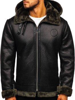 Čierny pánsky koženková bunda Bolf 88197