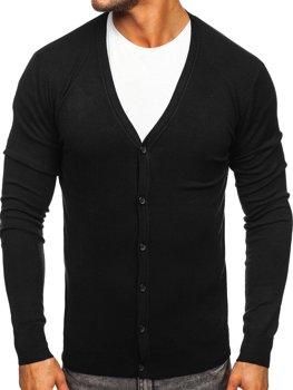 Čierny pánsky sveter so zapínaním na gombíky Bolf YY06