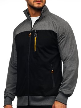 Grafitová pánska mikina na zips bez kapucne Bolf JX9892