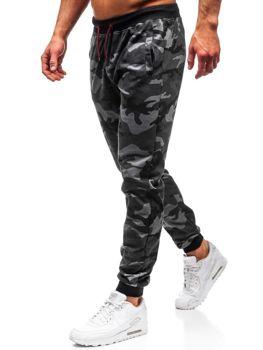Grafitové maskáčové pánske teplákové joggery BOLF MK19