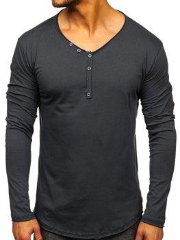 Grafitové pánske tričko s dlhými rukávmi bez potlače Bolf  5059