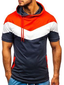 Grafitové pánske tričko s potlačou a kapucňou BOLF 9026