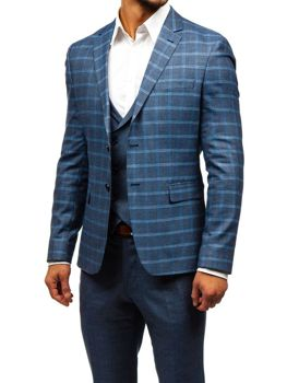 Grafitovo-modrý pánsky oblek s vestou BOLF 18300 66138dfe6a3