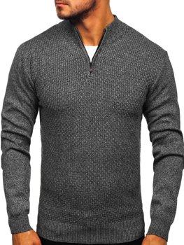 Grafitový pánsky sveter so zapínaním Bolf 8255