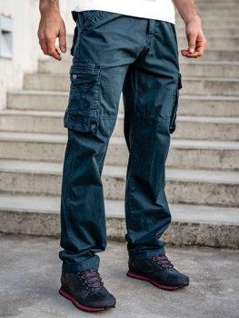 Granatowe spodnie bojówki plus size męskie z paskiem Denley CT8901