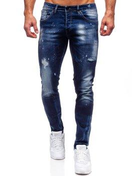 Granatowe spodnie jeansowe męskie regular fit Denley 9257