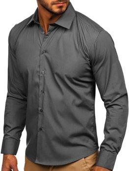 Hnedá pánska elegantná košeľa s dlhými rukávmi Bolf 0001
