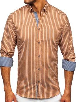 Hnedá pánska pruhovaná košeľa s dlhými rukávmi Bolf 20731