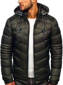Kahki pánska prešívaná športová zimná bunda Bolf 50A223