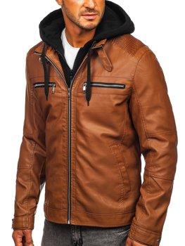 Kamelová pánska koženková bunda s kapucňou Bolf 1171