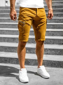 Kamelové pánske kapsáčové šortky s opaskom Bolf R88204