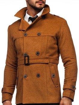 Kamelový pánsky zimný dvojradový kabát s vysokým golierom a opaskom Bolf 0009
